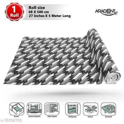 """ARADENT™ Multipurpose Non-Slip, Anti Skid, Easy Grip Washable PVC Shelf Linen Roll for Cabinets, Kithen Shelves, Drawer (27"""" X 5 mtr, Black)"""