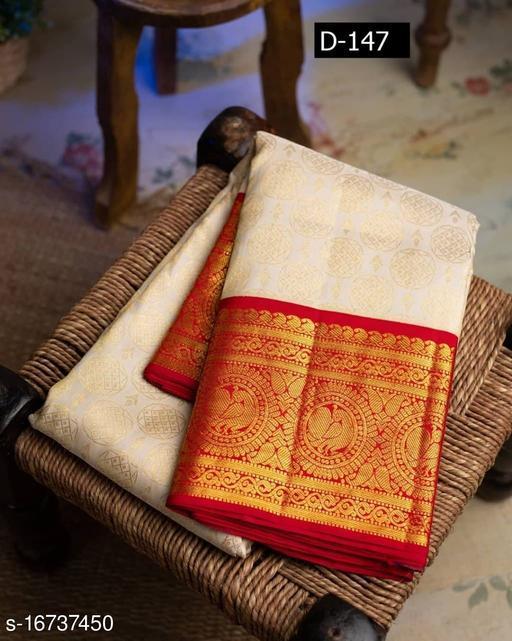 Kanchipuram Silk Rich Pallu Saree for Wedding & Party wear With Brocode Blouse.