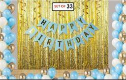 Pixelfox Happy Birthday Banner-BLUE + 2pcs Gold Fringe Curtains (6feet) + 30pcs White, Silver, Blue Balloons Combo + Free Mask