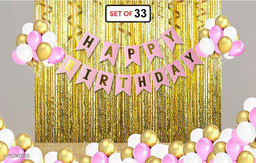 Pixelfox Happy Birthday Banner-Pink + 2pcs Gold Fringe Curtains (6feet) + 30pcs White, Gold, Pink Balloons Combo + Free Mask