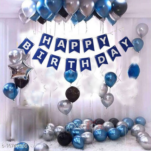 Pixelfox Happy Birthday Banner-BLUE + 1pcs Silver Star (10inch) + 30pcs Black, Silver, Blue Balloons Combo + Free Mask