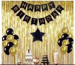 Pixelfox Happy Birthday Banner-BLACK + 1pc Black Star (10inch) + 2pcs Gold Fringe Curtains (6feet) + 30pcs Black, Gold Balloons Combo + Free Mask