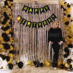 Pixelfox Happy Birthday Banner-BLACK + 2pcs Silver Fringe Curtains (6Feet) + 30pcs Black, Silver, Gold Balloons Combo + Free Mask