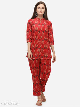 Ahalyaa Red Top Tunic with Pant