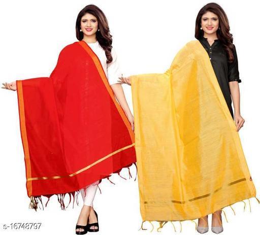 Cotton Blend Woven Red, Yellow Women Dupatta