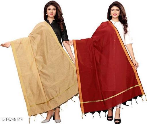 Cotton Blend Woven Gold, Maroon Women Dupatta