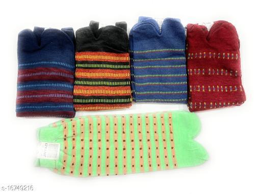 Girls/Women's' Printed Cotton Thumb Socks (Multicolour, Free Size) - Combo of 5 Pair