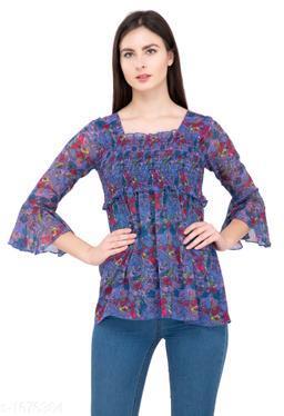 Women's Printed Blue Chiffon Top