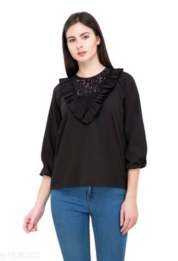 Women's Lace Black Polyester Top