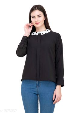 Women's Solid Black Polyester Top