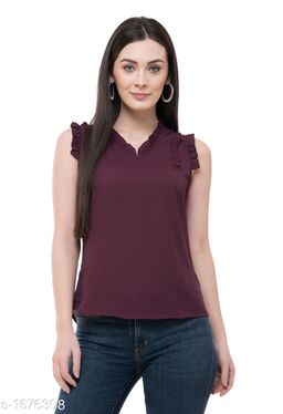 Women's Solid Purple Polyester Top