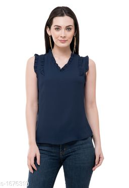 Women's Solid Navy Blue Polyester Top