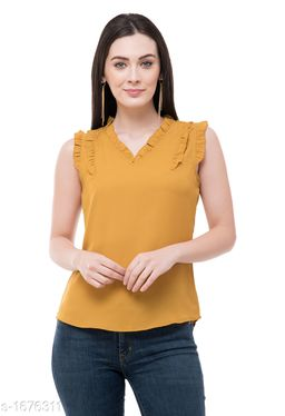 Women's Solid Mustard Polyester Top