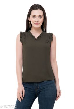 Women's Solid Olive Polyester Top