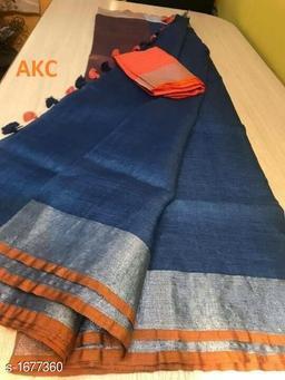 Attractive Linen Handloom Women's Saree