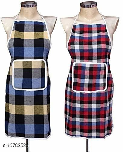 Waterproof Cotton Kitchen Apron with Front Pocket (Multicolour) Set of 2