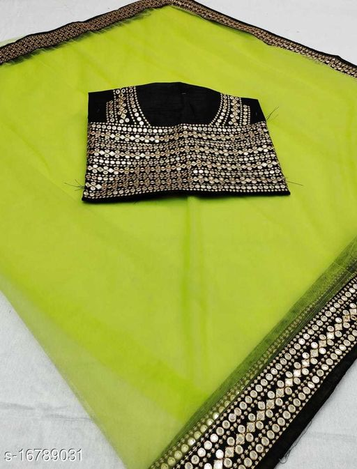 mirror lace net embroidery work saree
