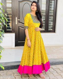 Women Satin Gown Yellow Kurti
