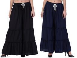 Lalymart Women's Solid Rayon Gharara/Sharara Free Size, Combo Pack of 2