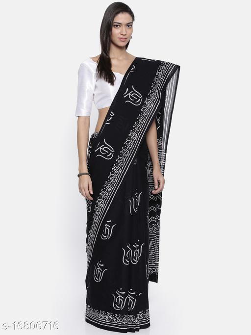 Sanjhi Bagru Block Printed Voile Saree