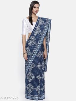 Sanjhi Bagru Block Printed Voile Indigo Saree
