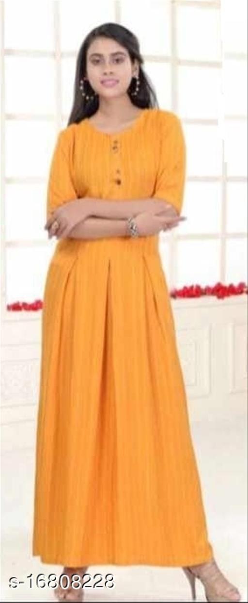 Women Rayon Slub Anarkali Gown