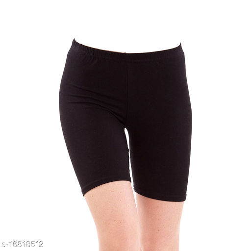Lets Shine casual shorts free size for females of Black Color