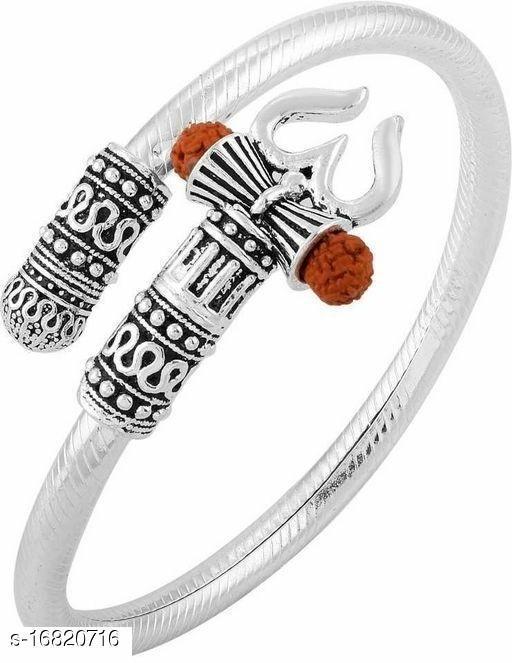 Trendy Men's Silver Trisul Rudraksha Bracelet