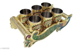 RANIC Glass Tray Set For Serving Lemon Set Meenakari Peacock Shape Handle With Tray Glass Set Glass Tray Set (golden)  (Wooden, Stainless Steel)