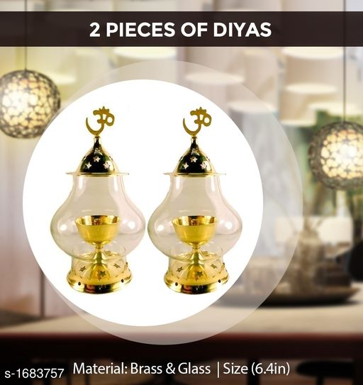 Traditional Brass and Glass Diya (Pack Of 2)