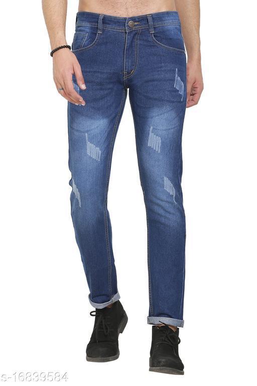 Sobbers Men's Poly Cotton Solid Damage Dark Blue Jeans