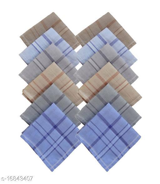 S4S 100% Cotton Mens Multicolor Striped Handkerchiefs (Pack of 12)