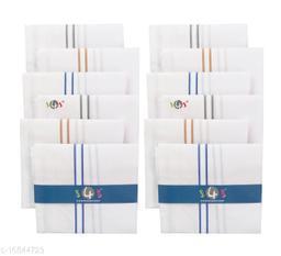 S4S 100% Cotton Mens White Striped Handkerchiefs (Pack of 12)