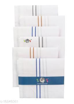 S4S 100% Cotton Mens White Striped Handkerchiefs (Pack of 6)