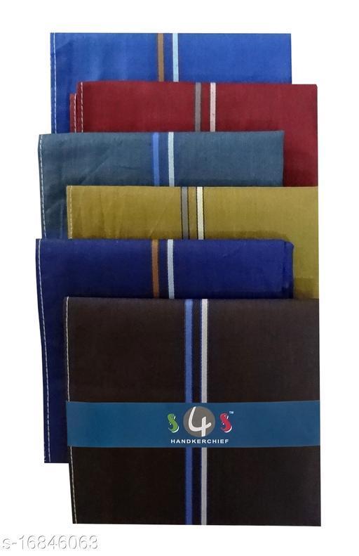 S4S Men's 100% Cotton Essential Handkerchiefs (Dark Color Assorted_42CM X 42CM_Pack of 6)