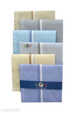 S4S 100% Cotton Mens Multicolor Striped Handkerchiefs (Pack of 6)
