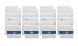 S4S Men's 100% Cotton Essential Handkerchiefs (White_42CM X 42CM_Pack of 24)