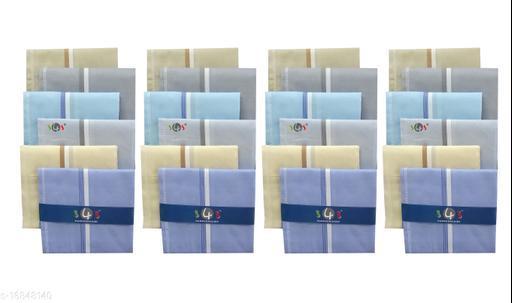 S4S 100% Cotton Mens Multicolor Striped Handkerchiefs (Pack of 24)