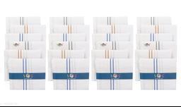 S4S 100% Cotton Mens White Striped Handkerchiefs (Pack of 24)