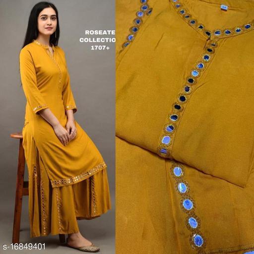 Women Rayon Yellow Palazzos Kurta Set