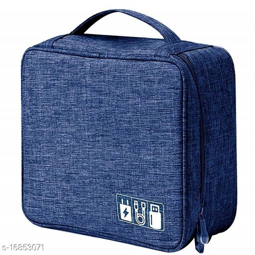 TradeVast® Large Electronics Accessories Organizer Bag, Universal Carry Travel Gadget Bag for Cables, Plug and More, Perfect Size Fits for Pad Phone Charger Hard Disk -  (Dark Blue)
