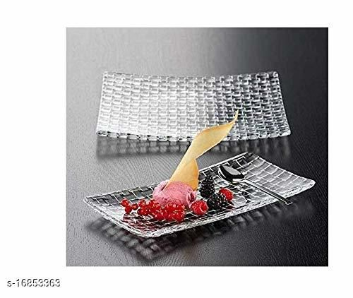 Classic Serving Solid Glass Rectangle Tray, Fruits Display Artificial or Real Fruits, and Complete Your Home Decor for Friend Gift Pack of 1
