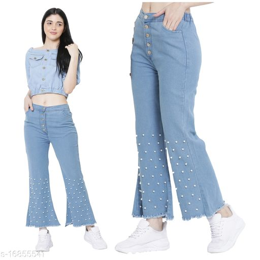 Vesture Forge Trendy Moti Flayerd Jean