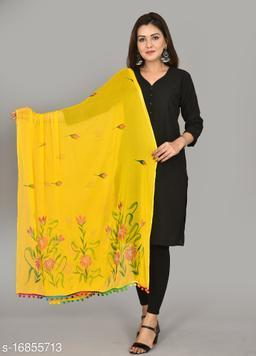 Vrnda Women's Hand Printed Chiffon Dupatta (2.25 Meter)(Yellow)