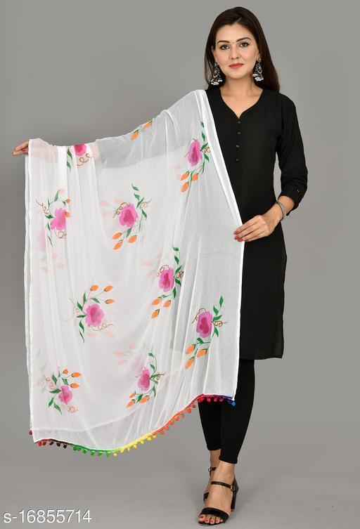 Vrnda Women's Hand Printed Chiffon Dupatta (2.25 Meter)(White)