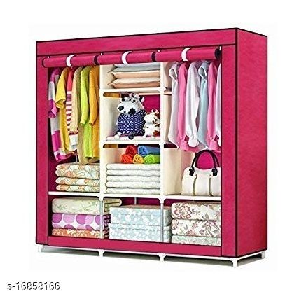 Advanced Perfect Homes Studio 2 Door 6 Shelf PP Collapsible Wardrobe  (Finish Color - Pink1)