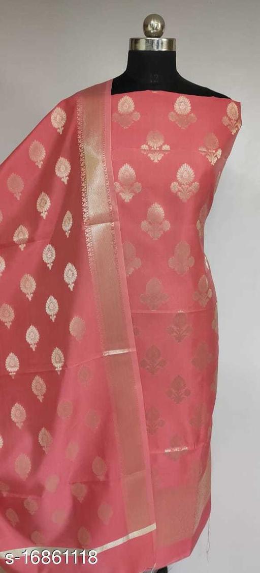 Banarsi Silver Zari Silk Suit (19Peach)