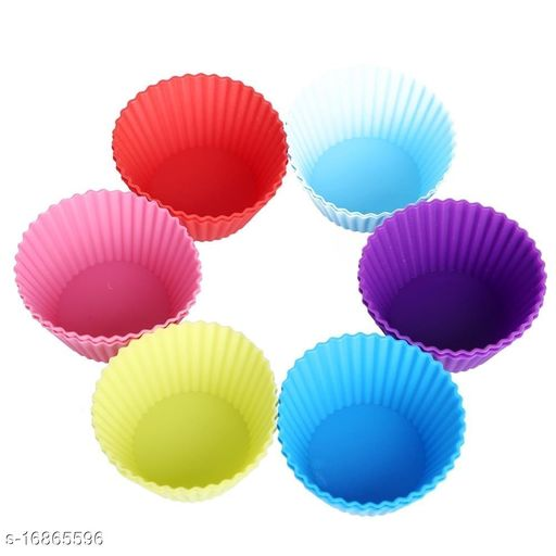 Cupcake Moulds 6 Pcs Silicone Muffin Moulds/Cup Cake Mould (Multicolour)