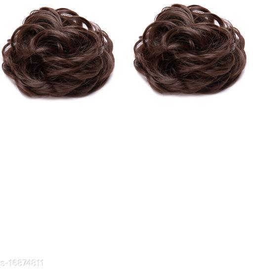 Women Curly Hair Bride Bun Maker Juda Rubber Free Size Bun(Brown) pack of 2