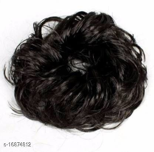 Women Curly Hair Bride Bun Maker Juda Rubber Free Size Bun(Black) pack of 2